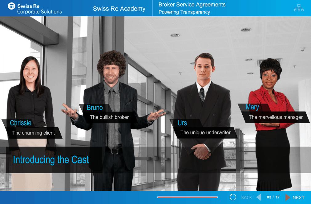 Scene from e-learning written for Swiss Re